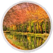 Autumn In Provence Round Beach Towel