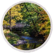 Autumn In Stillwater Round Beach Towel