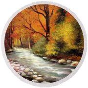 Autumn In The Forest Round Beach Towel