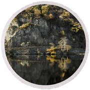 Autumn In The Lake Round Beach Towel