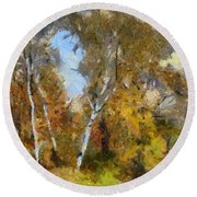 Autumn In The Marshes Round Beach Towel