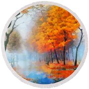Autumn In The Morning Mist Round Beach Towel
