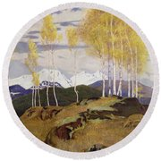 Autumn In The Mountains Round Beach Towel by Adrian Scott Stokes