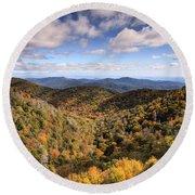 Autumn In The Blue Ridge Mountains Round Beach Towel