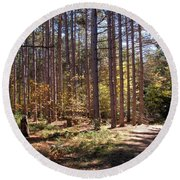 Autumn In The Pines Round Beach Towel