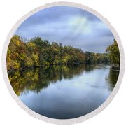 Autumn In The River Round Beach Towel