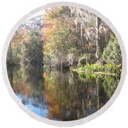 Autumn In A Swamp Round Beach Towel