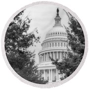 Autumn In The Us Capitol Bw Round Beach Towel