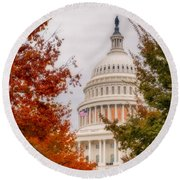 Autumn In The Us Capitol Round Beach Towel