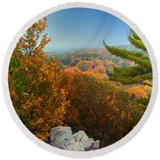 Autumn In The Valley Round Beach Towel