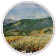 Harvest Time In Napa Valley Round Beach Towel