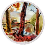 Autumn Jon Boats I Round Beach Towel
