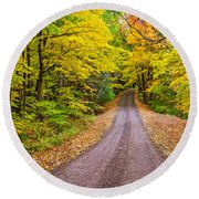 Autumn Journey Round Beach Towel