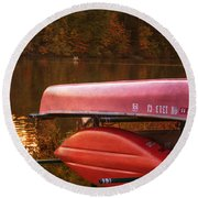 Autumn Kayaks On Newport Lake Round Beach Towel