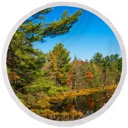 Autumn Lake 4 Round Beach Towel