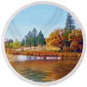 Autumn Lake In The Woods Round Beach Towel