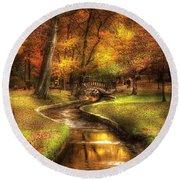 Autumn - Landscape - By A Little Bridge  Round Beach Towel by Mike Savad