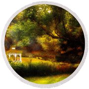 Autumn - Landscape - Past And Present Round Beach Towel