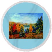 Autumn Landscape Quebec Red Maples And Blue Spruce Trees Round Beach Towel