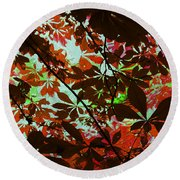 Autumn Leaf Abstract Round Beach Towel