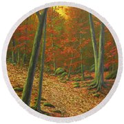 Autumn Leaf Litter Round Beach Towel
