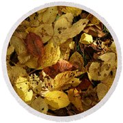 Autumn Leaves 94 Round Beach Towel