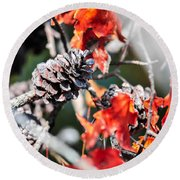 Autumn Leaves And Pinecone Background Round Beach Towel