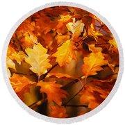 Autumn Leaves Oil Round Beach Towel