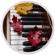 Autumn Leaves On Piano Round Beach Towel