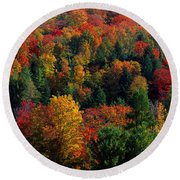 Autumn Leaves Vermont Usa Round Beach Towel