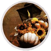 Autumn Light Post Round Beach Towel by Dan Sproul