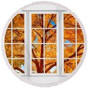 Autumn Maple Tree View Through A White Picture Window Frame Round Beach Towel