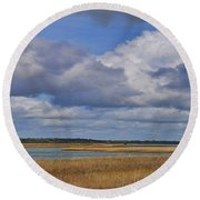 Autumn Marsh At Shell Island Round Beach Towel