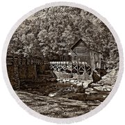 Autumn Mill Sepia Round Beach Towel