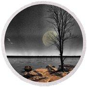 Autumn Moon Round Beach Towel