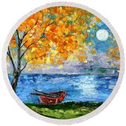 Autumn Moon Round Beach Towel