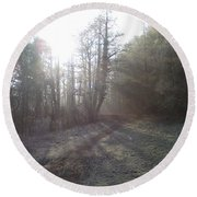 Autumn Morning 3 Round Beach Towel