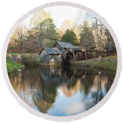 Autumn Morning At Mabry Mill Round Beach Towel