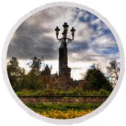 Autumn Morning At Symphony Circle V2 Round Beach Towel