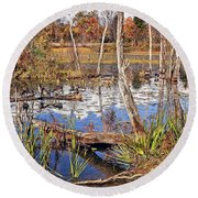 Autumn Morning At The Marsh Round Beach Towel