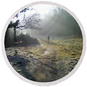 Autumn Morning  Round Beach Towel by David Stribbling