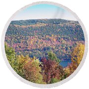 Autumn Mountain Round Beach Towel