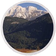 Autumn Snowcapped Mountain - Golden Ears - British Columbia Round Beach Towel