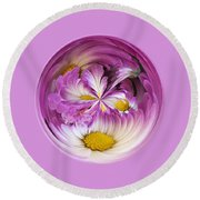 Autumn Mum Orb Abstract Round Beach Towel