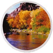 Autumn Oak Creek  Round Beach Towel