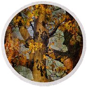 Autumn Oaks In Dance Mode Round Beach Towel