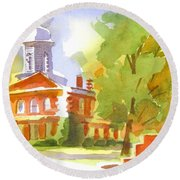 Autumn Observations Watercolor Round Beach Towel