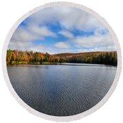 Autumn On Lake Plumbago Round Beach Towel