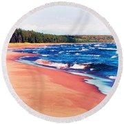 Autumn On Lake Superior Round Beach Towel