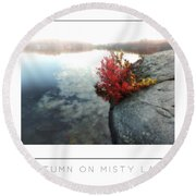 Autumn On Misty Lake Poster Round Beach Towel